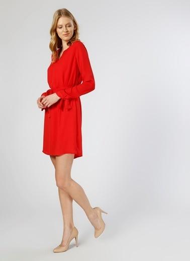 Limon Company Uzun Kollu V Yaka Kısa Elbise Kırmızı